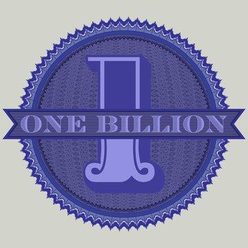 Sticker round guilloche mesh and the inscription one billion