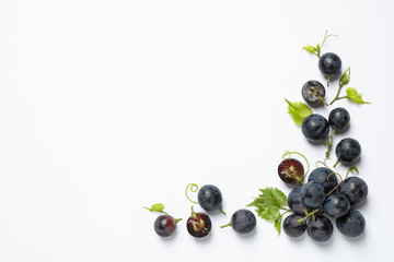Fototapeta Fresh ripe juicy grapes on white background, top view obraz