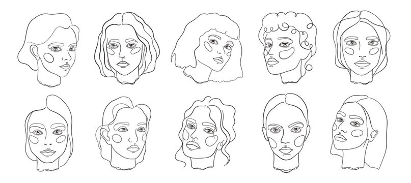 Abstract minamal face line art. Set elegant women sketch.