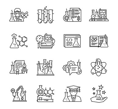 Chemistry science icon set. Education lab. The production of chemicals kit. Laboratory research experiments equipment. Outline contour black line.