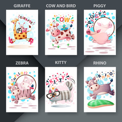 Cute animals jump - set animals for your idea.