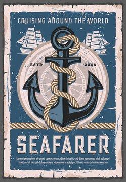 Nautical anchor with rope, seafarer sailing ship