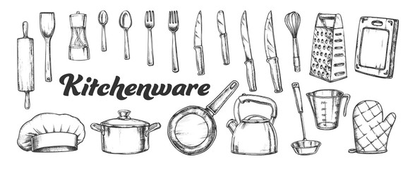 Kitchenware Utensils Collection Ink Set Vector. Spoons And Forks, Chef Hat And Scapula, Rolling Pin And Teapot Kitchenware. Engraving Template Hand Drawn In Vintage Style Black And White Illustrations