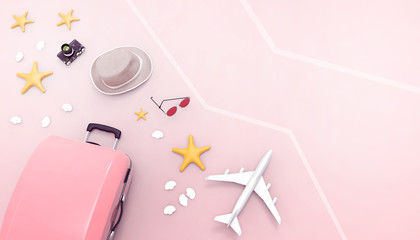 Flat lay Pink suitcase and sunglasses ,Luggage bag accessories  with Pink background and Airplane...