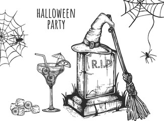 Halloween party. Cocktail with eyes, witch hat on a tombstone. Broom. Vector graphics. hand-drawn picture. Eps