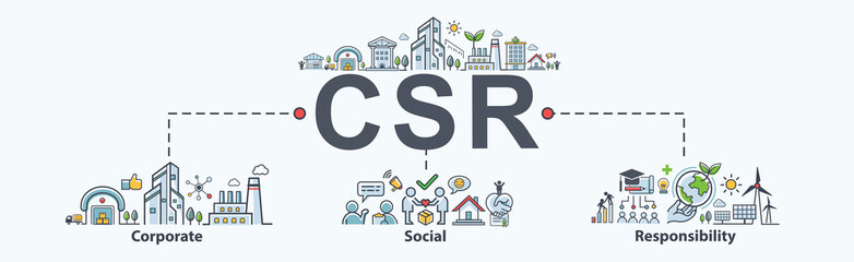 CSR Banner web icon for business and organization, Corporate social responsibility and giving back to the community.