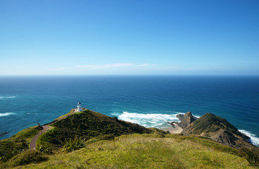 View over the Lighthouse towards the Tasman Sea Northland Cape Reinga New Zealand