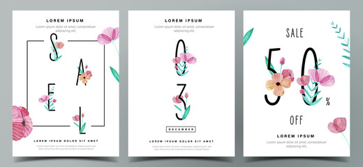 Set of cute poster template with watercolor floral decoration