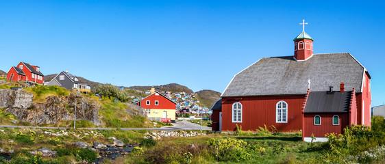 The Frelserens Kirke church built in 1832, also known as Our Saviour. Qaqortoq - Julianehab, Greenland.