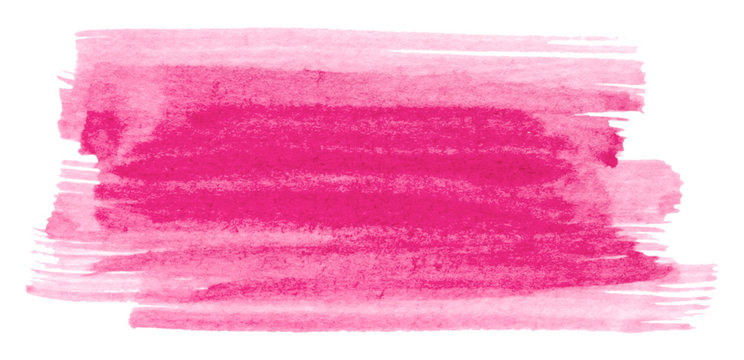 Vector pink paint brush stroke texture isolated on white - watercolor banner for Your design