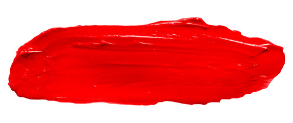 Vector red glossy paint texture isolated on white - acrylic banner for Your design