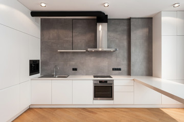 Modern and new kitchen with built in appliance