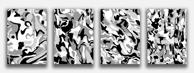 Liquid marble textured backgrounds. Abstract painting for wed design or print. Good for cards, covers and business presentations. Vector illustration.