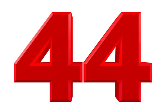 Red numbers 44 on white background illustration 3D rendering