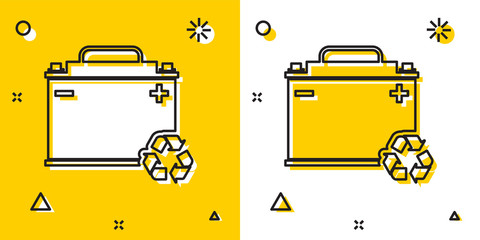 Black Car battery with recycle icon isolated on yellow and white background. Accumulator battery energy power and electricity accumulator battery. Random dynamic shapes. Vector Illustration