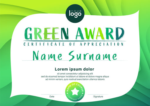 Modern environmental concept certificate of appreciation template. Green award diploma with abstract leaf background