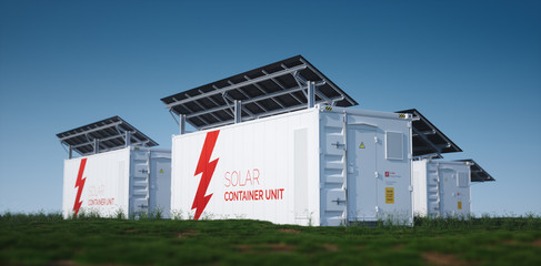Fototapeta Three solar container units. 3d rendering concept of a white industrial battery energy storage container with mounted black solar panels situated on fresh green grass in late sunny weather.  obraz