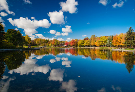 Autumn colorful scene reflecting at the Beaver Lake, Mont Royal, Montreal, Quebec, Canada