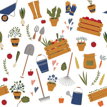 Seamless pattern with vector gardening elements. Gardening and farming tools and equipment, plants in pots, rubber boots and gloves, harvest vegetables and fruits in boxes.