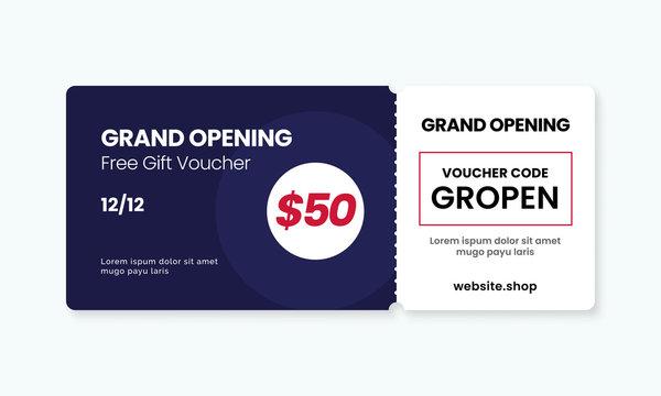 Grand opening gift voucher card template design. cashback coupon code promotion vector illustration