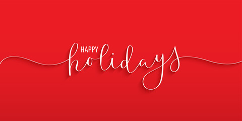 Wall Mural - HAPPY HOLIDAYS brush calligraphy banner on red background