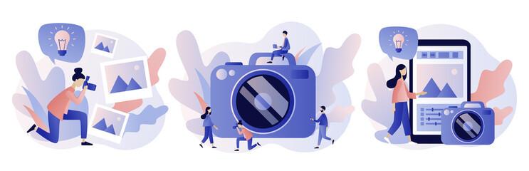 Photography concept. Photography workshop, processing workshop, photo portfolio creation concept. Modern flat cartoon style. Vector illustration