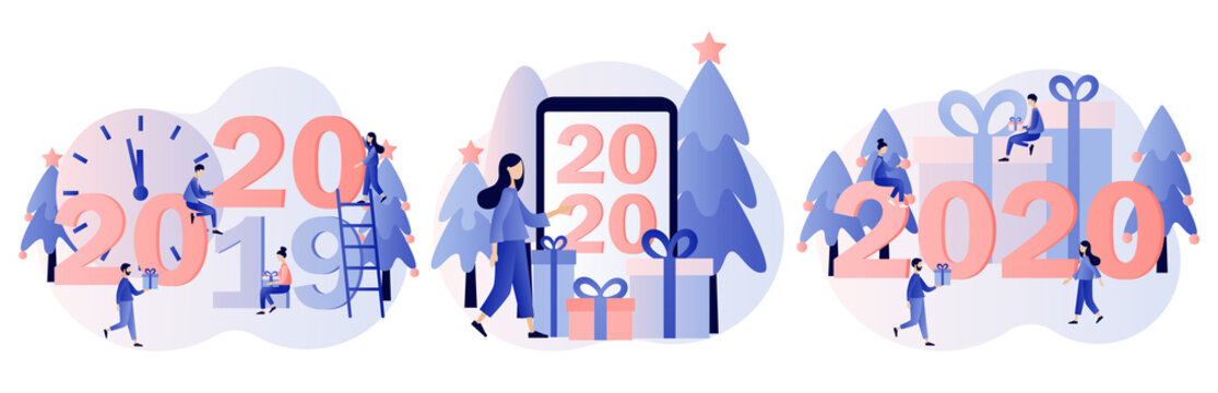 New Year 2020. Small people are preparing for the new year. Modern flat cartoon style. Vector illustration