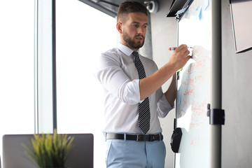 Smart concentrated businessman writing something on the flipchart using marker
