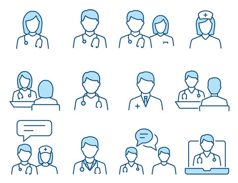 Doctor flat line icon set. Vector illustration. Editable stroke.