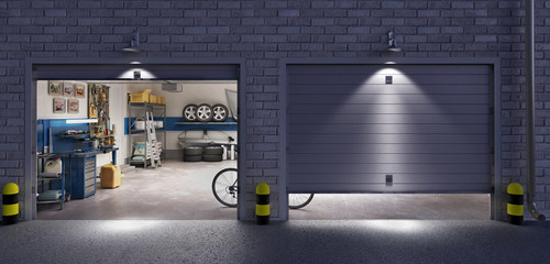 Wall Mural - Garage with two roller doors, look outside at night, 3d illustration