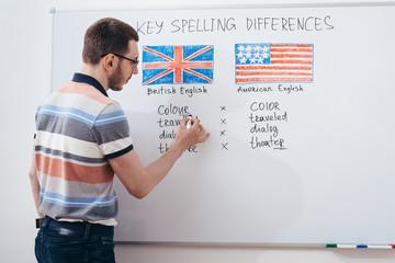 Tutor writing grammar on whiteboard. English language school.