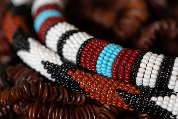 A close-up shot of African beads higlights the stunning detail, beautiful patterns and rich earthy colours of the African continent