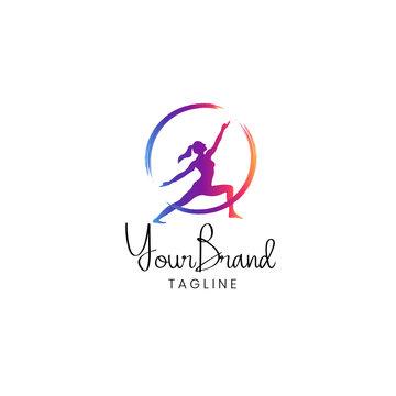 Fitness women logo template