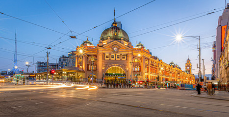 Melbourne Australia Flinders Street Station on the corner of Flinders Street and Swanston Street just after sunset Wall mural