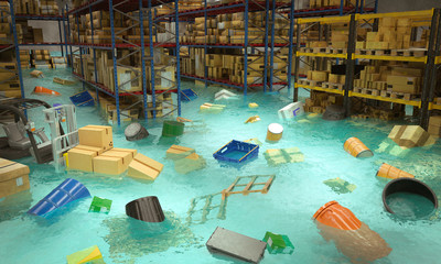 interior of a flooded warehouse with goods floating in water.