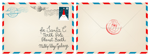 Dear santa claus mail envelope. Christmas surprise letter, child postcard with north pole postmark cachet vector illustration Fototapete