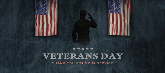 American National Holiday. US Flag background with American stars, stripes and national colors. Soldiers. Text: VETERANS DAY - Thank you for your service