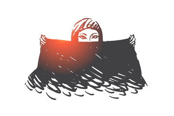 Muslim woman with black scarf concept sketch. Hand drawn isolated vector