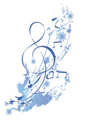 Winter music. Abstract treble clef decorated with snowflakes and notes. Vector illustration.