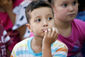 A Libyan student attends a class during the summer school programme at a local school in Tripoli