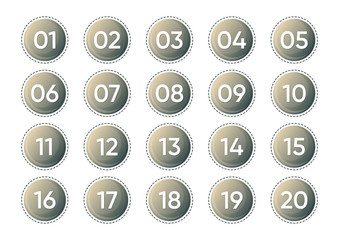 Twenty vector numbers icons isolated on white background