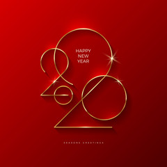 Golden 2020 New Year logo. Holiday greeting card. Vector illustration. Holiday design for greeting card, invitation, calendar, etc.