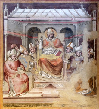 Life of St. Gregory the Great, Gregory blessing enthroned among the bishops, fresco by Dalmasio Iacopo of Scannabecchi, Santa Maria Novella Principal Dominican church in Florence, Italy