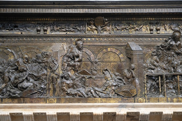 Right side of the bronze pulpit with the stories of the Redeemer, work by Donatello in the Basilica di San Lorenzo in Florence, Italy - fototapety na wymiar