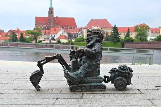 WROCLAW, POLAND - MAY 11, 2018: Gnome of dwarf small statue in Wroclaw, Poland. Wroclaw has 350 gnome sculptures around the city.
