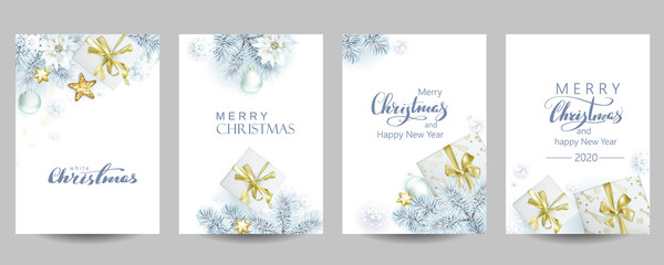 Obraz 4 template of Christmas cards with white spruce and gift boxes - fototapety do salonu