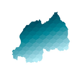 Vector isolated illustration icon with simplified blue silhouette of Rwanda map. Polygonal geometric style. White background