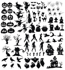 Set of elements for Halloween. A collection of black silhouettes of mystical creatures. Vector illustration of monsters and witches. Figure of magical creatures. Tattoo.