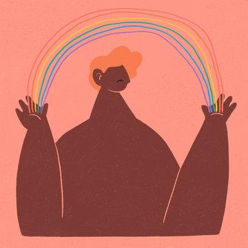 LGBTQ Person with Rainbow