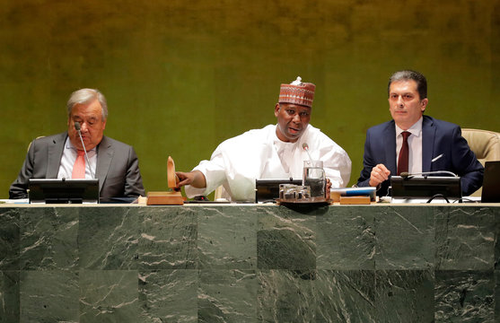 President of the General Assembly Tijjani Muhammad-Bande of Nigeria gavel bangs the opening of the 74th session of the United Nations General Assembly at U.N. headquarters in New York City, New York, U.S.